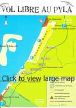 Paragliding map of Dune de Pyla